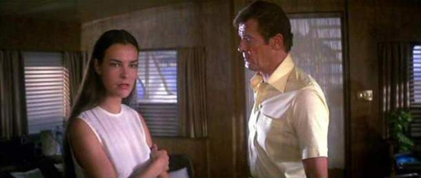 """Carol Bouquet and Roger Moore in """"For Your Eyes Only"""""""