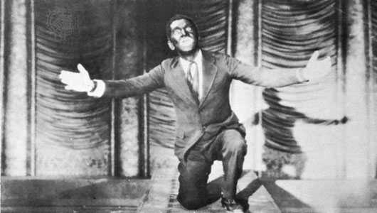 "Al Jolson singing ""Mammy,"" in the first takie picture, ""The Jazz Singer"""