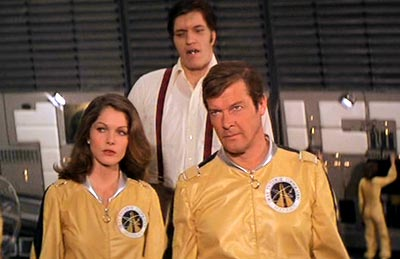 Beatrice Libert with Roger Moore (James Bond) and Richard Kiel (Jaws) in Moonraker