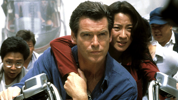 "Pierce Brosnan as 007 and Michelle Yeoh as Wai Lin in ""Tomorrow Never Dies"""