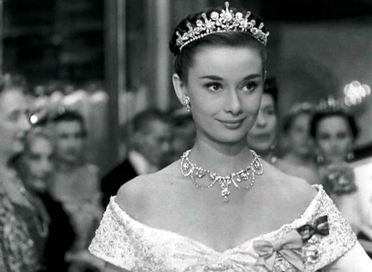 "Aurey Hepburn in an Oscar award-winning performance in ""Roman Holiday"""