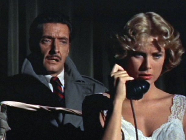 "Anthony Dawson as Captain Lesgate/Swann gets ready to strangle a sleepy-faced Grace Kelly in, ""Dial M For Murder"""