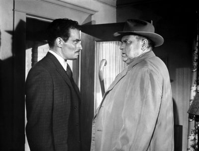 "Charlton Heston squares off against Orson Welles in ""Touch of Evil"""