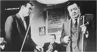 "Paul Newman and Jackie Gleason shoot some pool in ""The Hustler"""