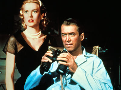 "Grace Kelly and James Stewart try to catch a killer in, ""Rear Window"""