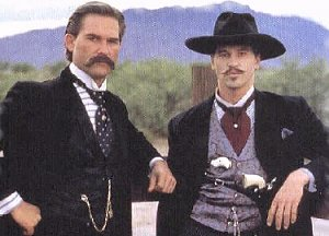 "`Kurt Russell and Val Kilmer as Wyatt Earp and Doc Holliday in ""Tombstone"""