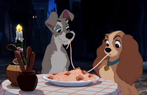 "The iconic image of Lady and, um, the Tramp from, yeah, ""Lady and the Tramp"""