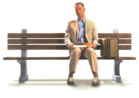 Forrest Gump ponders life with a box of choc-a-lates.