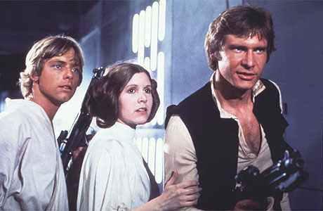 "Mark Hamill, Carrie Fisher and Harrison Ford in ""Star Wars: Episode IV"""