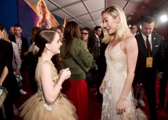 "HOLLYWOOD, CA - MARCH 04: (L-R) Actors Mckenna Grace and Brie Larson attend the Los Angeles World Premiere of Marvel Studios' ""Captain Marvel"" at Dolby Theatre on March 4, 2019 in Hollywood, California. (Photo by Alberto E. Rodriguez/Getty Images for Disney) *** Local Caption *** Brie Larson; Mckenna Grace"